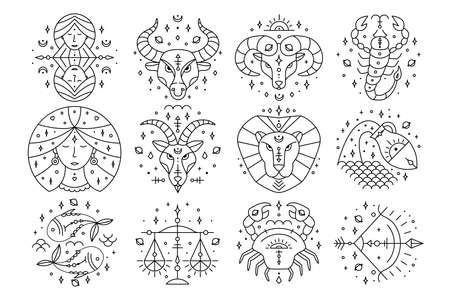 細い線の干支。占星術、星占いのシンボル、デザイン要素。白で隔離されています。ベクトルの図