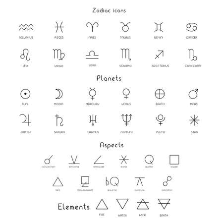 Zodiac sings astrology astronomy symbols, isolated icons. Planets, stars pictograms. Big esoteric set in line art black and white color geometric. Vector illustrations Illusztráció