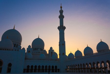 A photo taken on May 26, 2010 shows a view from the courtyard of the Sheikh Zayed Grand Mosque in the UAE capital Abu Dhabi Editorial