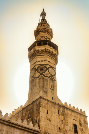 Minaret of a mosque in Ancient City of Damascus (Syrian Arab Republic) Stock Photo - 98304548