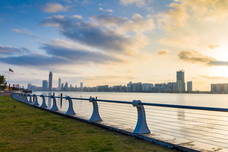 Abu Dhabi Corniche at morning time Stock Photo