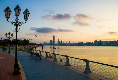Abu dhabi Corniche at morning time