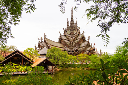 Sanctuary of Truth in Pattaya temple in Thailand Stock Photo