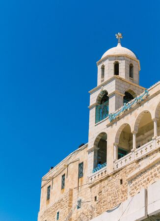 Minaret of Our Lady of Saidnaya Monastery, its is a monastery of the Greek Orthodox Church of Antioch located in Saidnaya city, Syria, 05/07/2016 Editorial