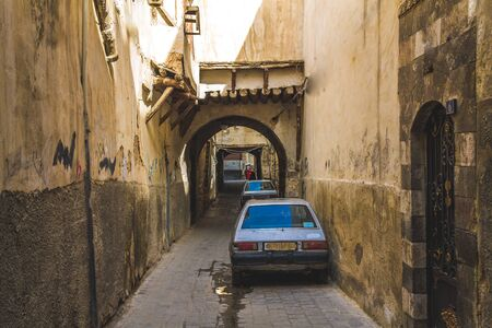 old lane in ancient city of Damascus (Syrian Arab Republic) in 15/02/ 2020 daytime at 15/02/ 2020