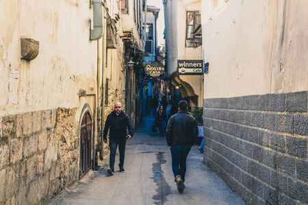 Vintage street and life how looks in ancient City in Damascus (Syrian Arab Republic) after war ended in 17/12/2019