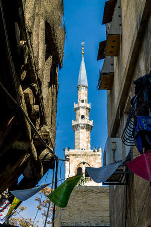 one of Umayyad Mosque Minaret n ancient City of Damascus (Syrian Arab Republic) after war ended in 15.02.2020