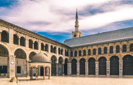 Exterior of Omayad mosque in ancient City of Damascus (Syrian Arab Republic) after war ended in 15.02.2020