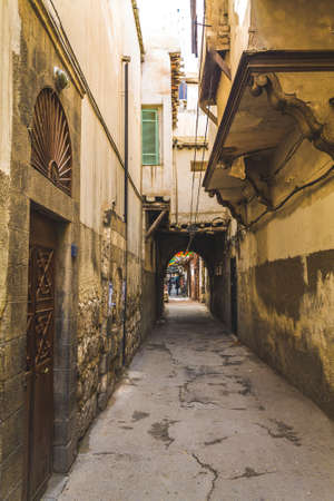 antique syrian lane in ancient city of Damascus (Syrian Arab Republic) in 15/02/ 2020