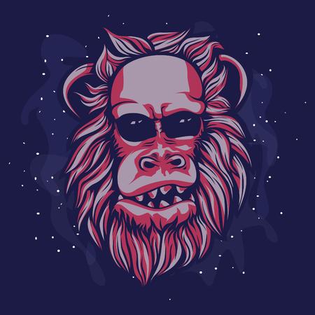 red apes cartoon illustration