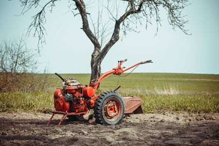 A small hand tractor, walk-behind tractor, plows the land. Work on the field. The concept of agriculture and industry.