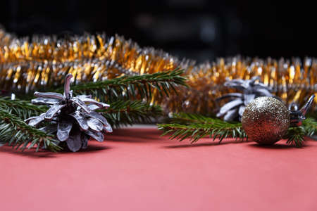 Christmas decoration on the background of the table.