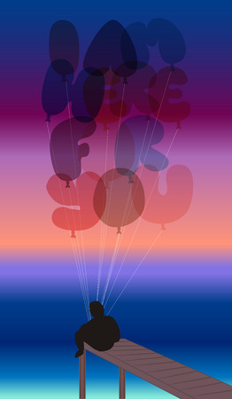 Man sitting on a pier with balloons Vector