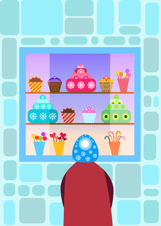 sweetshop: Child in front of a candy shop window