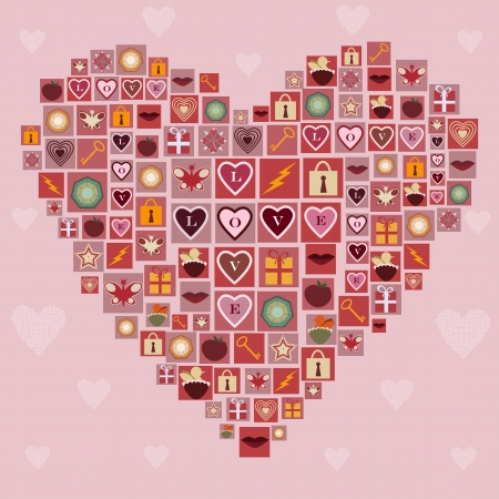 Heart made of love icons Stock Vector - 24760383