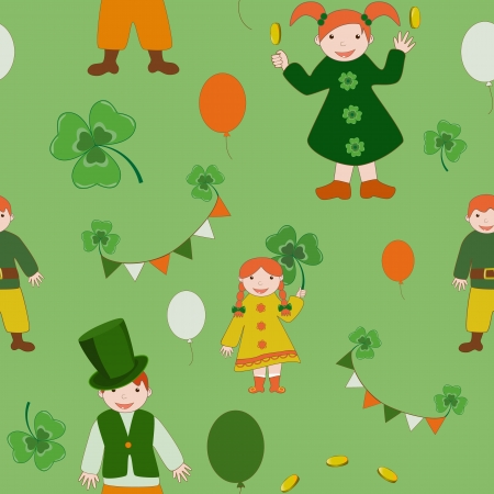 Saint Patrick s Day cute kids pattern  Vector