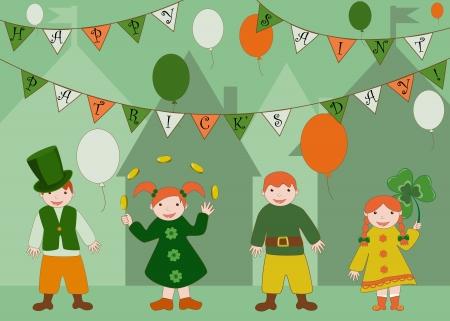 saint patrick's day: Cute kids celebrating Saint Patrick s Day