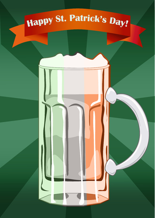 saint patrick��s day: Saint Patrick s Day beer glass in colors of Irish flag