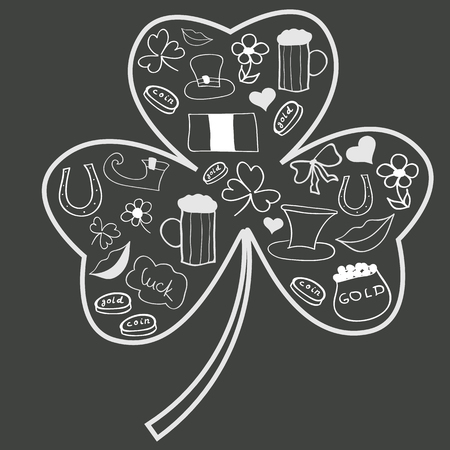 Saint Patrick s Day doodles in shape of shamrock Vector