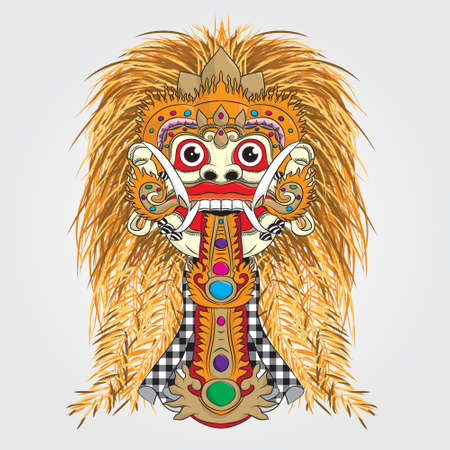 theatrical dance: Devil Rangda Bali Mask  Illustration