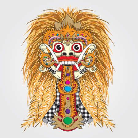 Devil Rangda Bali Mask  Illustration