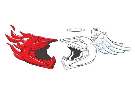 Devil and Angel Helmet Motocross Stock Vector - 19124042