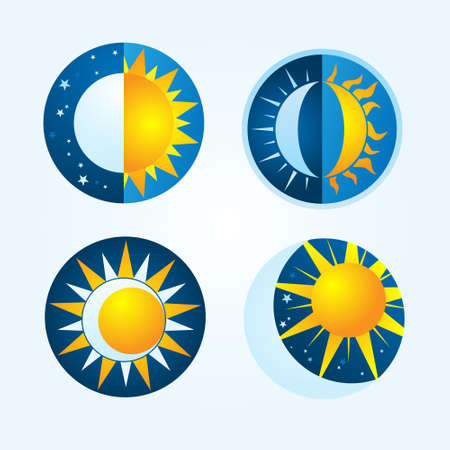 half moon: Sun and moon  Illustration
