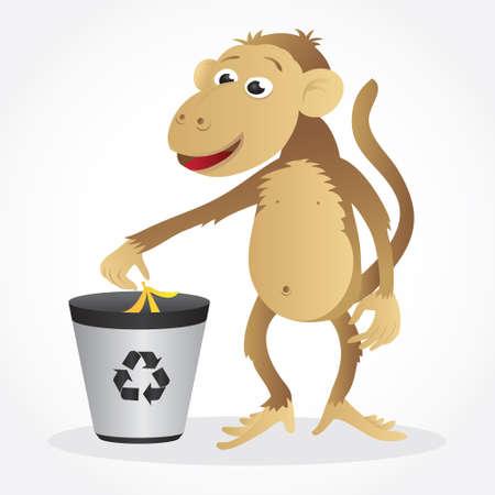 Monkey Recycling  Illustration
