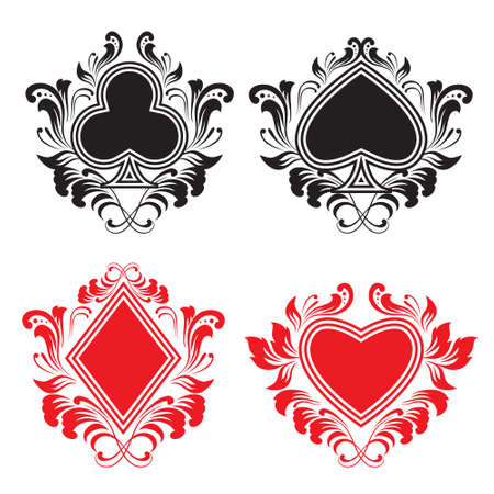 playing card set symbols: Playing Card Ornament  Illustration