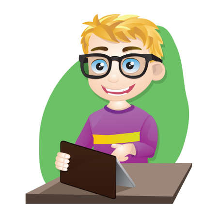 teenagers only: Smart Boy Playing Tablet Illustration