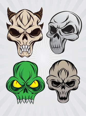 tattoo drawings: Skull Color Set