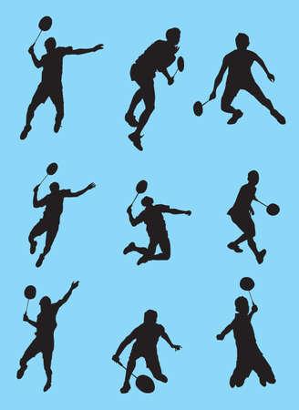 Badminton Silhouette Vector Set  Illustration