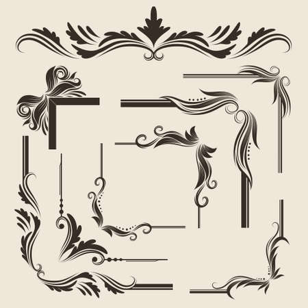 vine art: 9 Decorative Frame Vector Set  Illustration