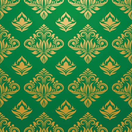 Gold and Green Pattern  Ilustração