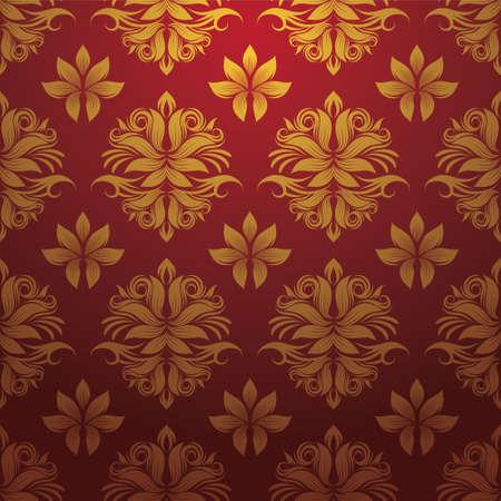 Goud en Rood Patroon Stock Illustratie