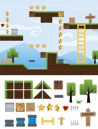 illustraties platform voor game Stock Illustratie