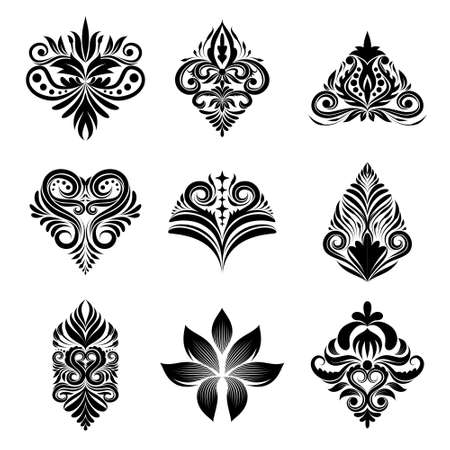 floral flower pattern: Icon Ornamental 9 Vector Set