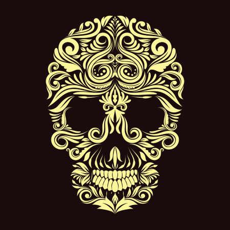 Dark Brown Ornament Skull