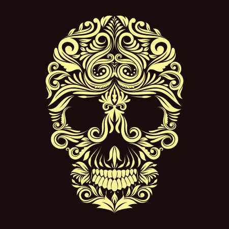 Dark Brown Ornament Skull  Vector