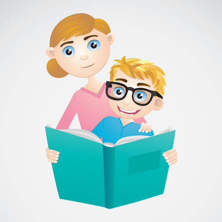 Boy and Mom Reading The Book
