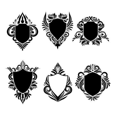 Shield swirl ornamental 6 Vector set