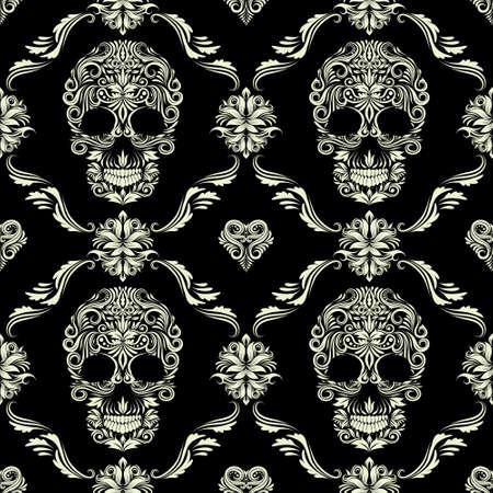 disegni cachemire: Skull Ornamental Pattern Vettoriali