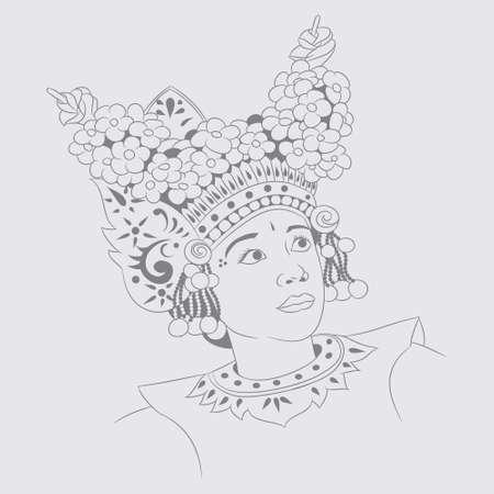 Sketch Girl Balinese Dance  Vector
