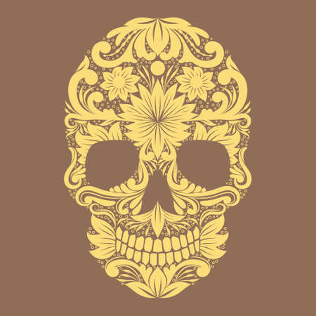Skull Ornamental Flower  Vector
