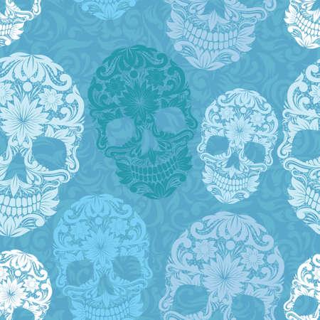 halloween skeleton: Skull Pattern Classic Illustration