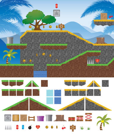 Platform Game Tropical  Vector