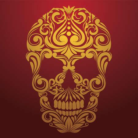 gold skull ornamental  Ilustração