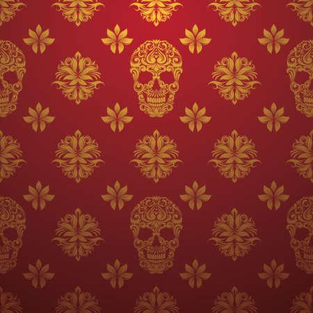 oldened: Gold Skull Ornamental Pattern