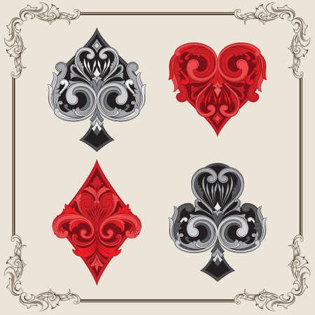 Playing Card Vintage Ornamental 일러스트