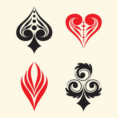 card suits: Playing Card Simple Ornament Illustration
